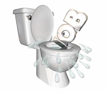 Job Position Unemployed Loss Laid Off Toilet Flush Down 3d Illustration
