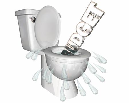 廃棄物のお金水洗トイレを浪費予算 3 d イラストレーション 写真素材