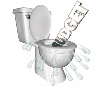 waste 3d: Budget Overspending Waste Money Flush Toilet 3d Illustration
