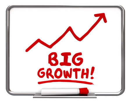 dry erase board: Big Growth Arrow Rising Improve Increase Words 3d Illustration