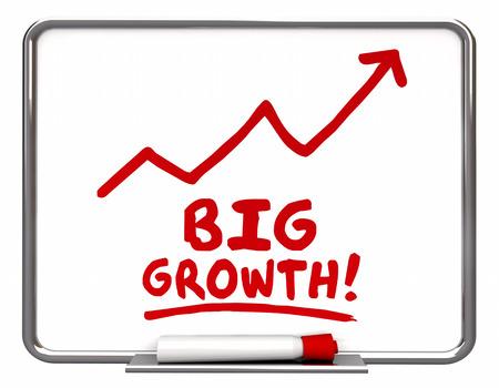 increasing: Big Growth Arrow Rising Improve Increase Words 3d Illustration