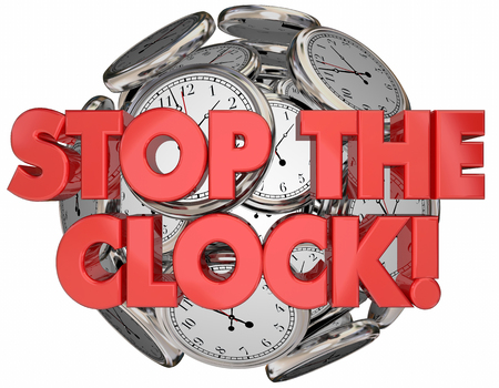 intermission: Stop the Clock Break Time Out Pause Words 3d Illustration