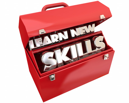 learning new skills: Learn New Skills Toolbox Education Training Words 3d Illustration