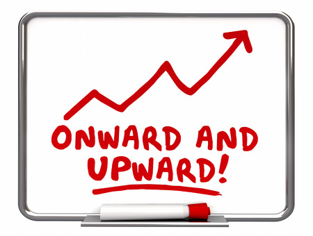 onward: Onward and Upward Arrow Rising Words 3d Illustration