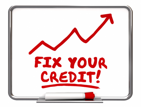 Fijar su Flecha de crédito que va para arriba Palabras mejora Ilustración 3d