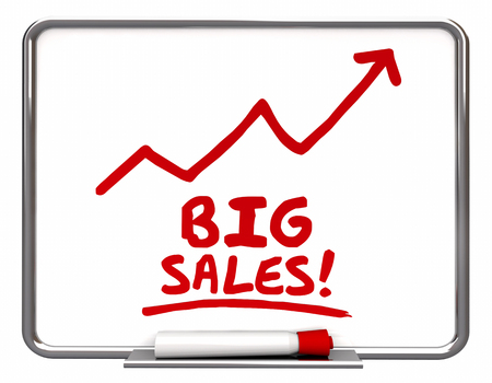selling: Big Sales More Selling Arrow Up Words 3d Illustration