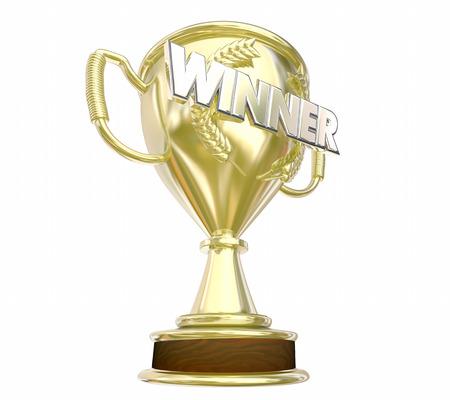 accomplishments: Winner Gold Trophy Award Prize Word 3d Illustration