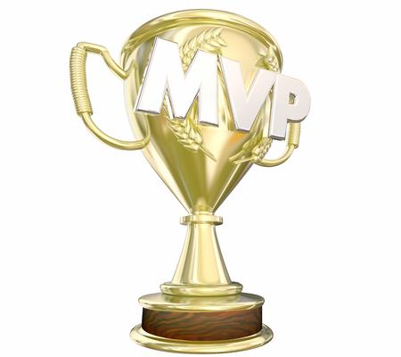 La mayoría MVP Premio Trofeo de Oro valiosa del jugador 3d ilustración Foto de archivo - 58219192