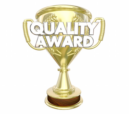 Quality Award Best Top Recommended Trophy Words 3d Illustration Stock Photo
