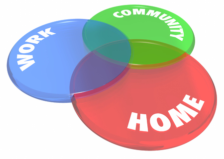 work home: Work Home Community Venn Diagram Circles 3d Illustration