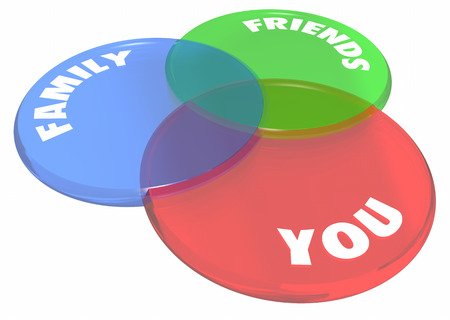 family and friends: You Friends Family Venn Diagram Circles 3d Illustration Stock Photo