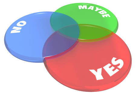 negative area: Yes No Maybe Answers Venn Diagram 3d Illustration