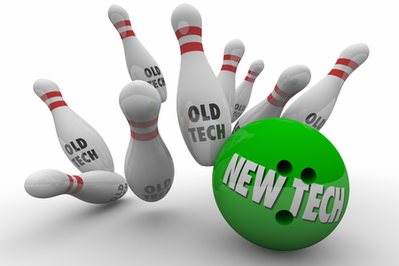 new technology: New Tech Vs Beats Old Technology Bowling Ball Strike 3d Illustration