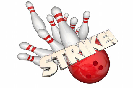 on strike: Strike Word Bowling Ball Pins Win Game 3d Illustration