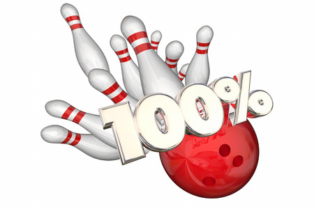 100 Percent Total Best Score Perfect Bowling Strike 3d Illustration