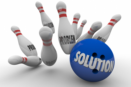 mitigate: Problem Solution Bowling Ball Pins Strike Solved 3d Illustration