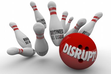 disruption: Disrupt Business As Usual Change Improve Bowling Strike 3d Illustration