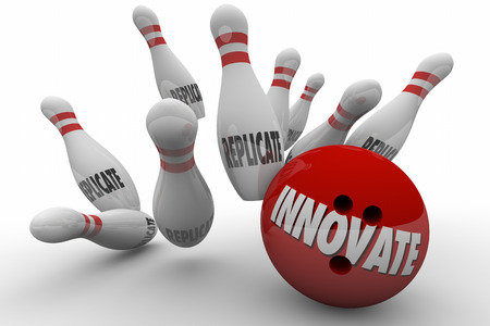 originate: Innovate Vs Replicate Bowling Ball Strike 3d Illustration Stock Photo