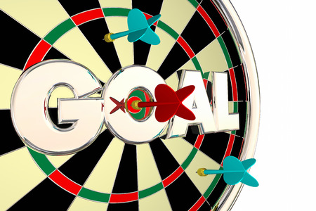 achieved: Goal Word Mission Objective Target Dart Board 3d Illustration