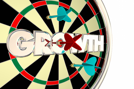 competitors: Growth Dart Board Increase Improve Target Word 3d Illustration