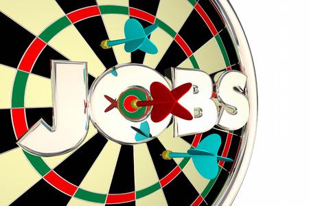 La contratación de puestos de trabajo encuentran Solicita Carrera Oportunidad tablero de dardos Ilustración 3d