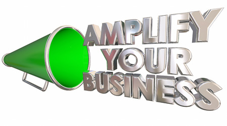 amplification: Amplify Your Business Bullhorn Megaphone 3d Illustration