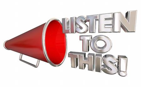 この重要なニュースの拡声器に耳を傾ける 3 d イラストレーションをメガホン 写真素材