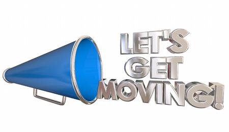 cheer leader: Lets Get Moving Bullhorn Megaphone Cheer 3d Illustration