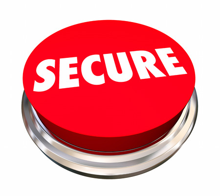 safeguard: Secure Safety Protection Crime Prevention Button 3d Illustration