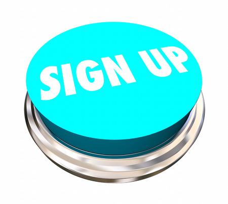 Aanmelden Registreer Inschrijven Doe mee Word Button 3d Illustratie