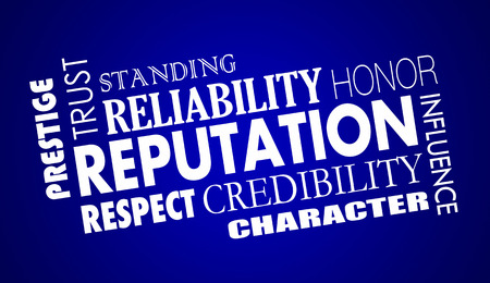 word collage: Reputation Trust Credibility Respect Word Collage Illustration