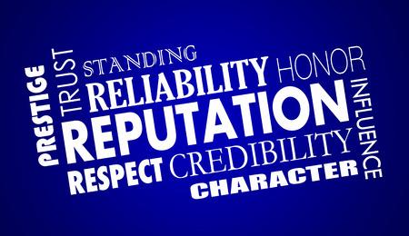 Reputation Trust Credibility Respect Word Collage Illustration