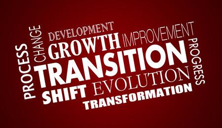 遷移変化進化進歩単語コラージュ イラスト 写真素材