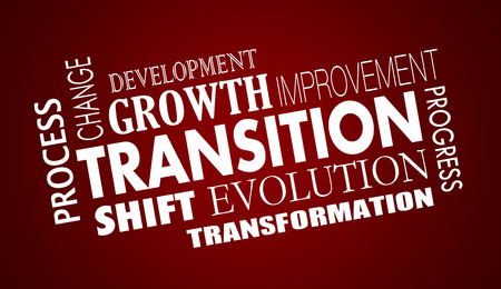 Transition Change Evolution Progress Word Collage Illustratie Stockfoto