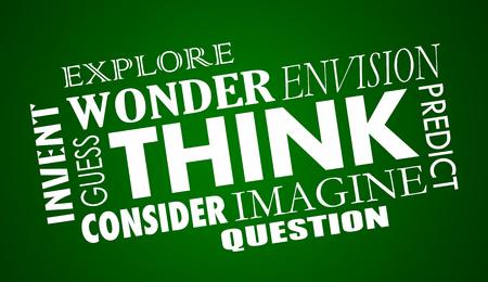 Think Imagine Create Solve Word Collage Illustration
