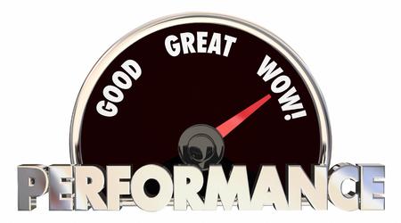 gauging: Performance Review Score Measurement Level 3d Illustration Stock Photo