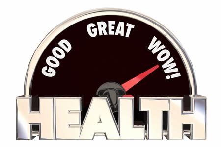 buena salud: La puntuación de estado de bienestar Medición de fitness Ilustración 3d