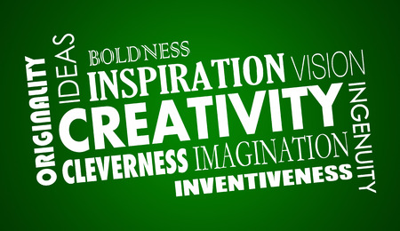 inventing: Creativity Imagination Inventive Word Collage Illustration Stock Photo