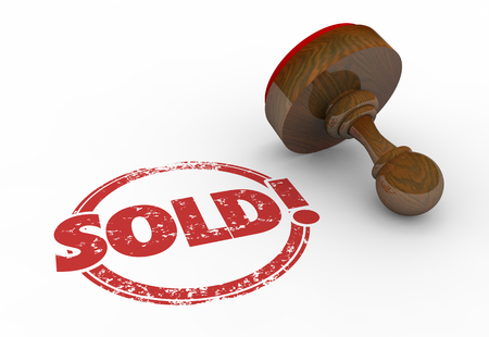 stamping: Sold Round Red Stamp Word Sell Success 3d Illustration Stock Photo