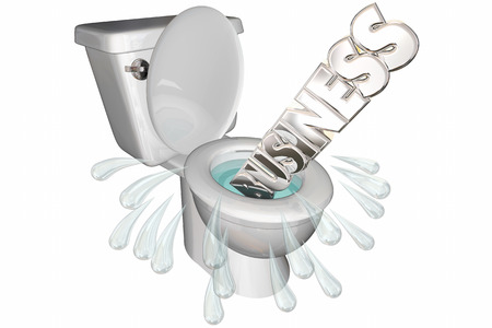 poverty: Business Flushed Down Toilet Failure Word 3d Illustration Stock Photo