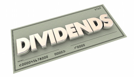 proceed: Dividends Check Money Income Word 3d Illustration