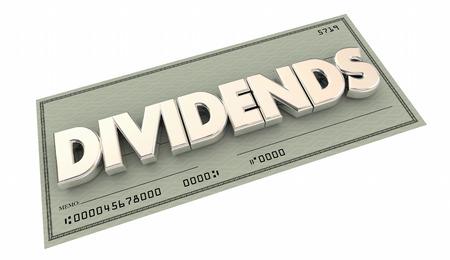 Los dividendos cheque del dinero Ingresos Palabra Ilustración 3d Foto de archivo