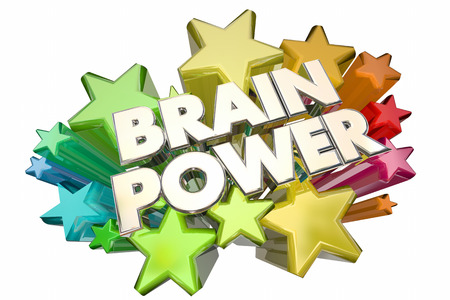 Brain Power Smarts Intelligence IQ Words Stars 3d Illustration Imagens