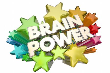 exciting: Brain Power Smarts Intelligence IQ Words Stars 3d Illustration Stock Photo