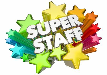 Super Personeel Werknemers Werknemers Stars Woorden 3d Illustratie