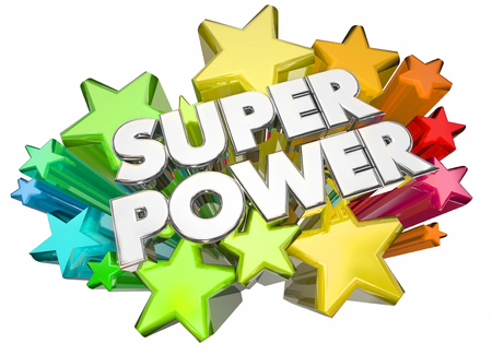 Super Power Hero Strength Words Stars 3d Illustration 版權商用圖片