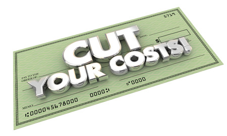 low cost: Cut Your Costs Bills Check Words 3d Illustration Stock Photo