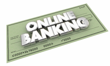 checking accounts: Online Banking Check Money Savings Words 3d Illustration