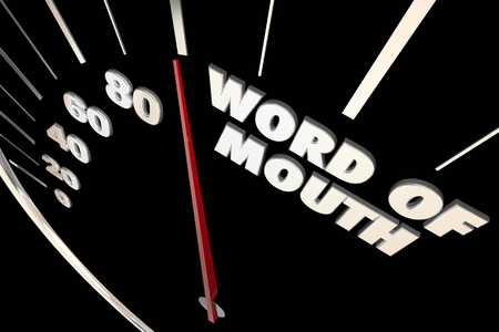 word of mouth: Word of Mouth Buzz Referrals Words Speedometer 3d Illustration