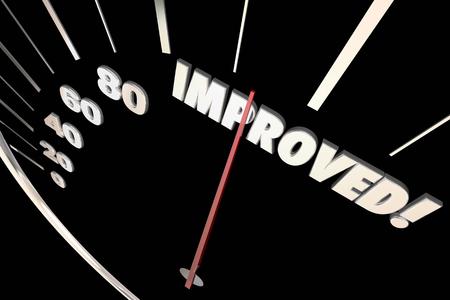 measuring: Improved Word Better Speedometer Progress 3d Illustration
